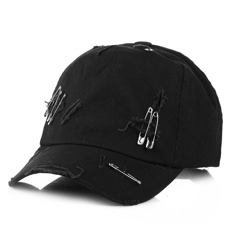new cap unisex solid Ring Safety Pin curved hats baseball cap men women snapback caps casquette gorras