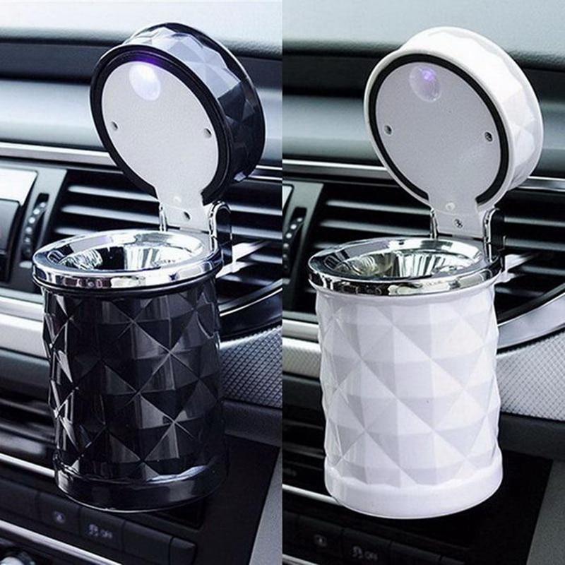 Sailnovo lumière bleue LED Cendrier de Voiture Ignifuge Matériel Facile À Nettoyer Voiture Cendrier Conviennent À La Plupart Des Auto Voiture support de verre Accessoires De Voiture