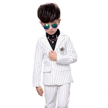new Kids Boys suit clothes Black white stripes jacket + trousers suit