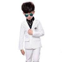 new Kids Boys suit clothes Black white stripes jacket + trousers suit blazer boys suit set formal blazer jacket for 3 5 7 9 10Y