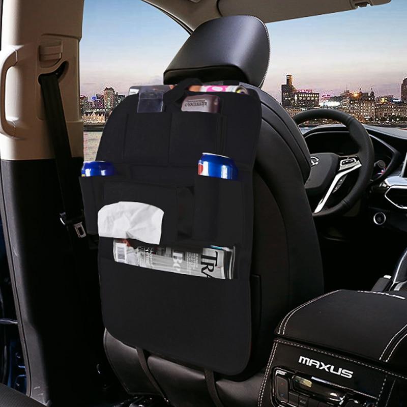 Multi-Pocket bolsa de almacenamiento de viaje asiento trasero de coche organizador de almacenamiento percha de red de basura para bolsa de almacenamiento de capacidad automática