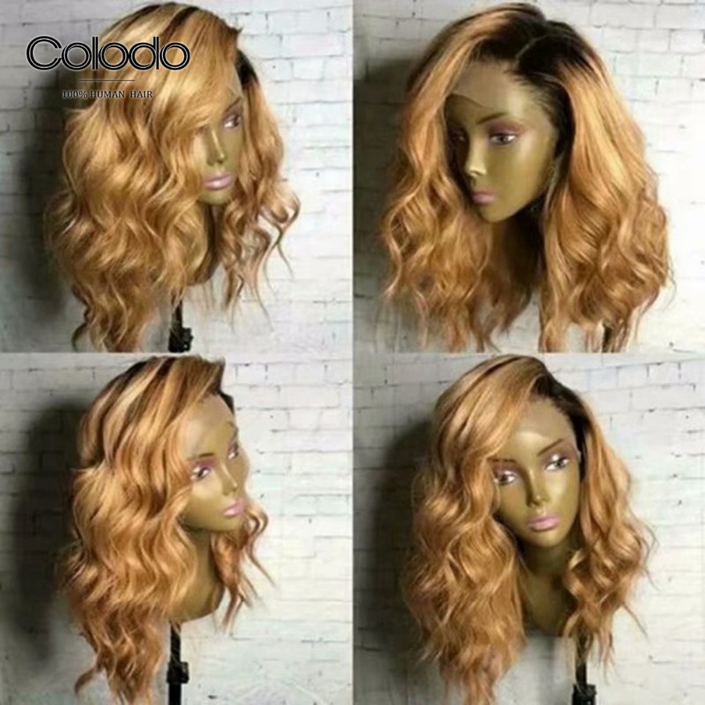 COLODO Ombre Blonde Lace Front Wig Brazilian Human Hair Wig 150 Density Pre Plucked Natural Hairline