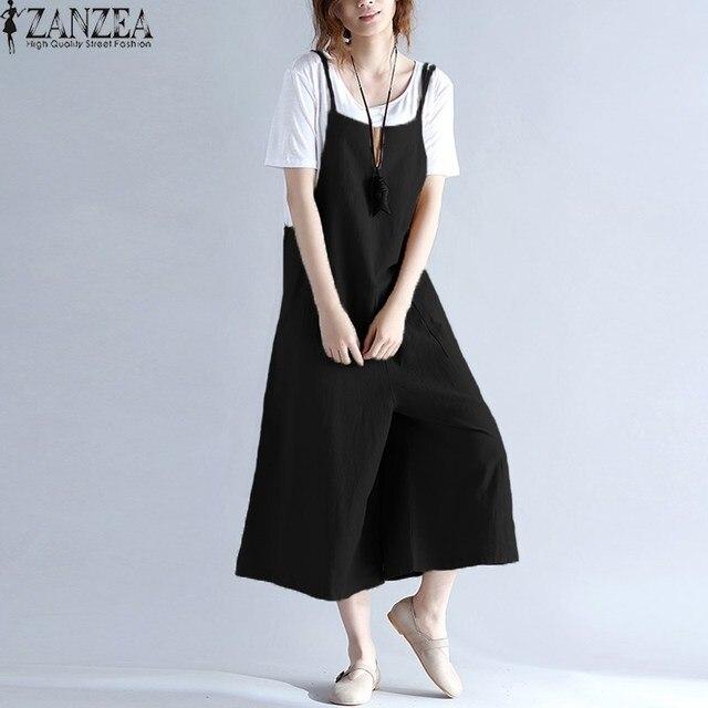 eae54aeec76 M-5XLZANZEA Womens Summer Spaghetti Straps Wide Leg Harem Loose Long Pants  Cargo Jumpsuit Cotton Romper Overalls Plus Size 2018