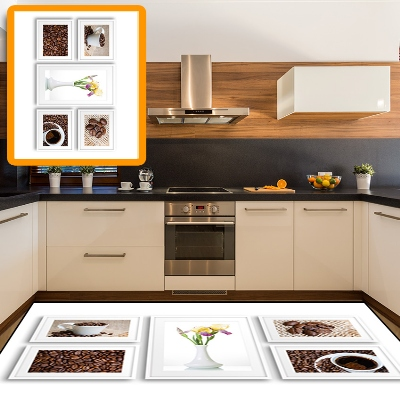 Else Cup Of Coffee Pot Coffee Beans Flowers  3d Print Non Slip Microfiber Kitchen Modern Decorative Washable Area Rug Mat