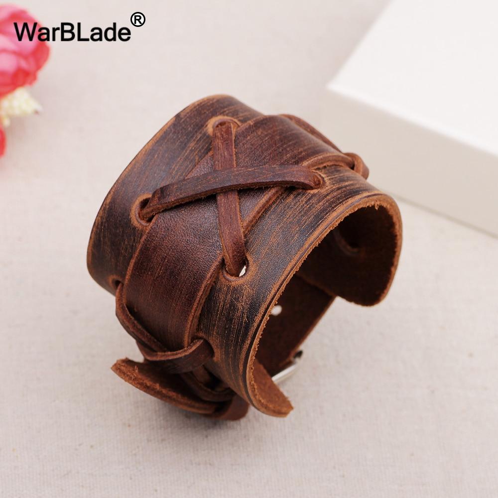 WarBLade 2018 New Fashion Black Brown Genuine Leather Wide Bracelet Bangles Cuff Wristband Rock Punk Women Men Bracelets