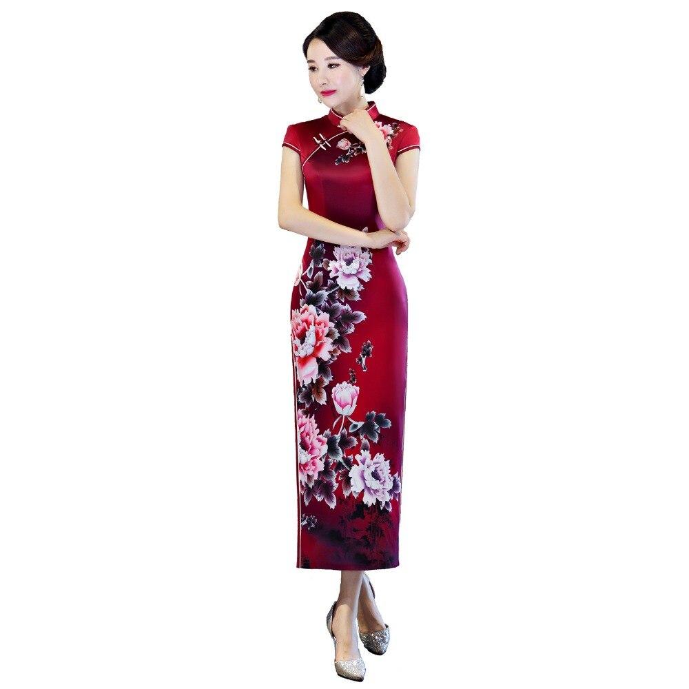 Shanghai Story 2019 New Arrival Women s Short Sleeve Green Floral Qipao Faux Silk Cheongsam Dress