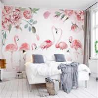 Rosa Medievale Flamingo Acquerello Fiore di Rosa Applique Da Parete TV Produttore Commercio All'ingrosso Carta Da Parati Murale sfondo Personalizzato Photo Wall