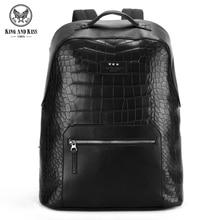 Король и Поцелуй Рюкзак ПУ мужская кожаная сумка Моды двойная молния крокодил мужской рюкзак школьный девушки женщины сумка shoulde # KK7006