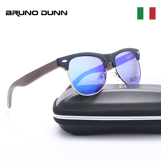 13d9193e7d Bruno Dunn 2018 Black Walnut Sunglasses Wood Polarized for women Mens  Wooden Glasses UV 400