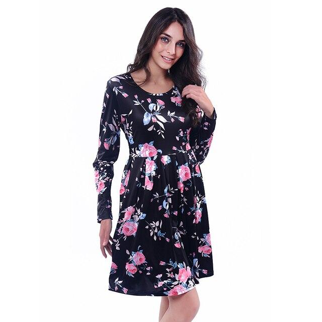 d1d894fd2 2017 الأوروبية والأمريكية نمط الملابس الرخيصة الصين التجارة الخارجية المرأة  اللباس حار س الرقبة الطباعة طويل