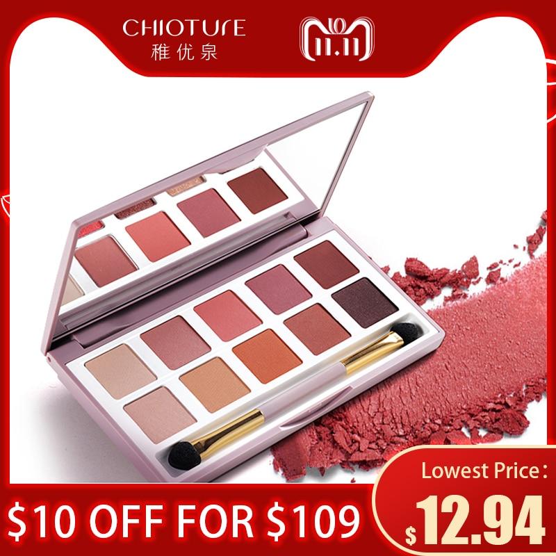 CHIOTURE 10 Colors Matte Shimmer Glitter Eyeshadow Pallete Eye Shadow Makeup Make Up Palette Maquillage Paleta De Sombra цены онлайн