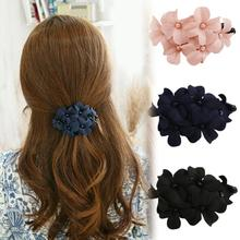 Fashion Handmade Women Girl Flower Banana Barrette Hair Clip 11.5*6 CM Hair Pin Claw Black Pink Navy Drop Shipping HDR-01771