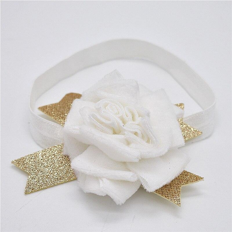 Baby Star Opaski Sliver Pink White Menina Kwiaty Hairbands Dzieci - Odzież dla niemowląt - Zdjęcie 3