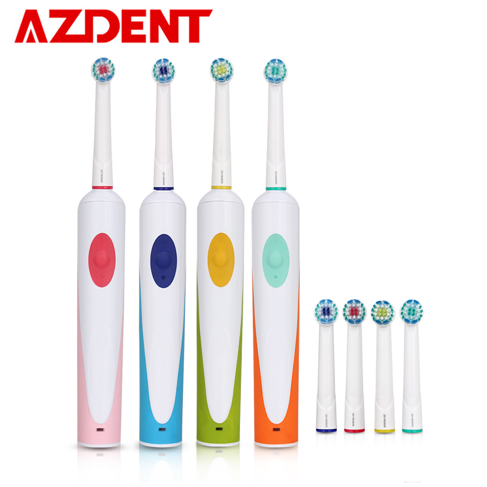 AZDENT Electric Toothbrush Rotation-Oscillation Rechargeable Tooth Brushes with 4pcs Replacement Rotary Heads EU Plug Charger image