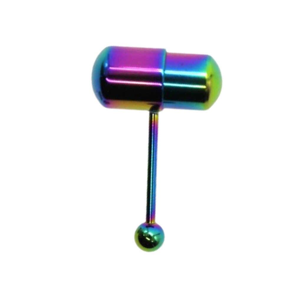 Titanium Berlapis Warna Bergetar Bedah Stainless Steel Menusuk Cincin Lidah