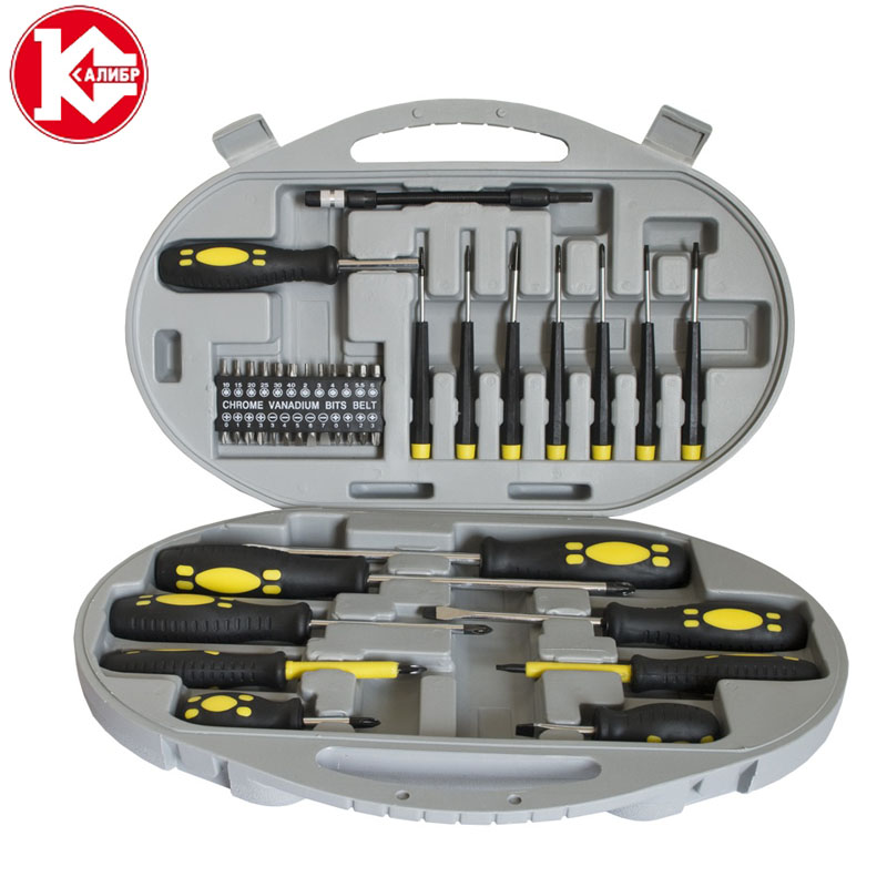 Kalibr NOU-42 PC Screwdriver Set Precision Screwdrivers Set Screwdriver for Phone Screw driver Bits 15pcs set high speed steel titanium coated drill bits set 3 4 5mm 1 4 hex shank woodworking tool for metal fuli
