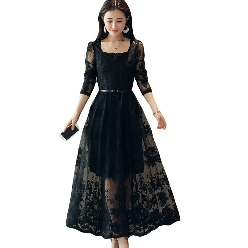 Sexy Crochet dentelle robe 2018 printemps femmes mode manches longues Maxi robes femme élégant soirée fête blanc longue robe CM2508