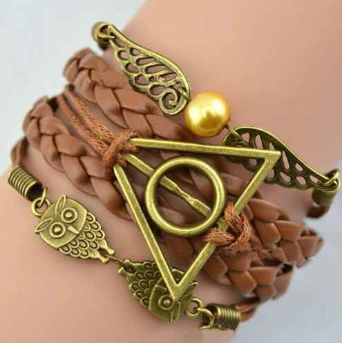 Harry Multilayer Braided Bracelets Vintage Owl Deathly Hallows wings Infinity Bracelet Bangle Gryffindor Slytherin DropShiping