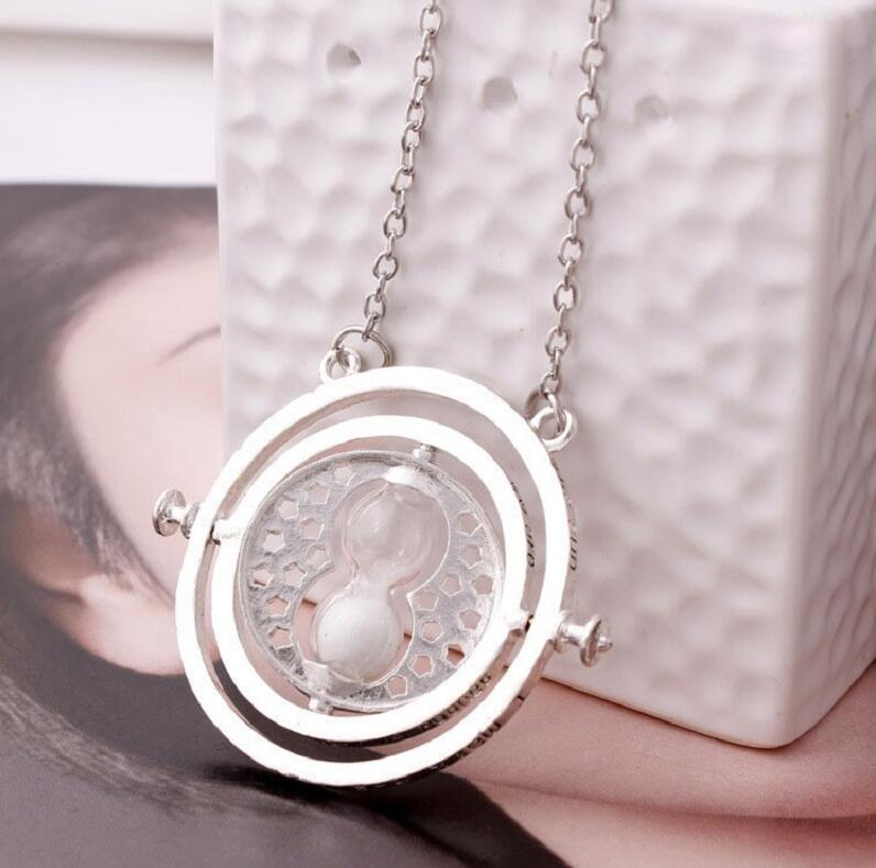 10pcs set Harri Potter Necklace Time Turner Hermione Granger Rotating Spins Gold Hourglass For Women Accessories