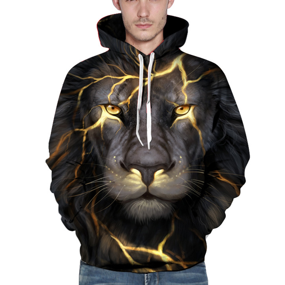 Cool Gold Crack Lion Head 3D Hoodies Men/Women Autumn Winter Thin Hooded Sweatshirt Unisex Hoodie With Pockets