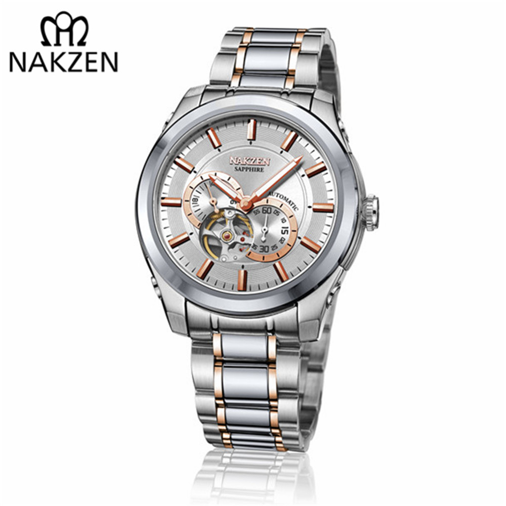 NAKZEN Men Automatic Miyota 82S7 Mechanical Watch Multifunction Luminous Sapphire Watches Luxury Business Stainless Steel Clock цена и фото