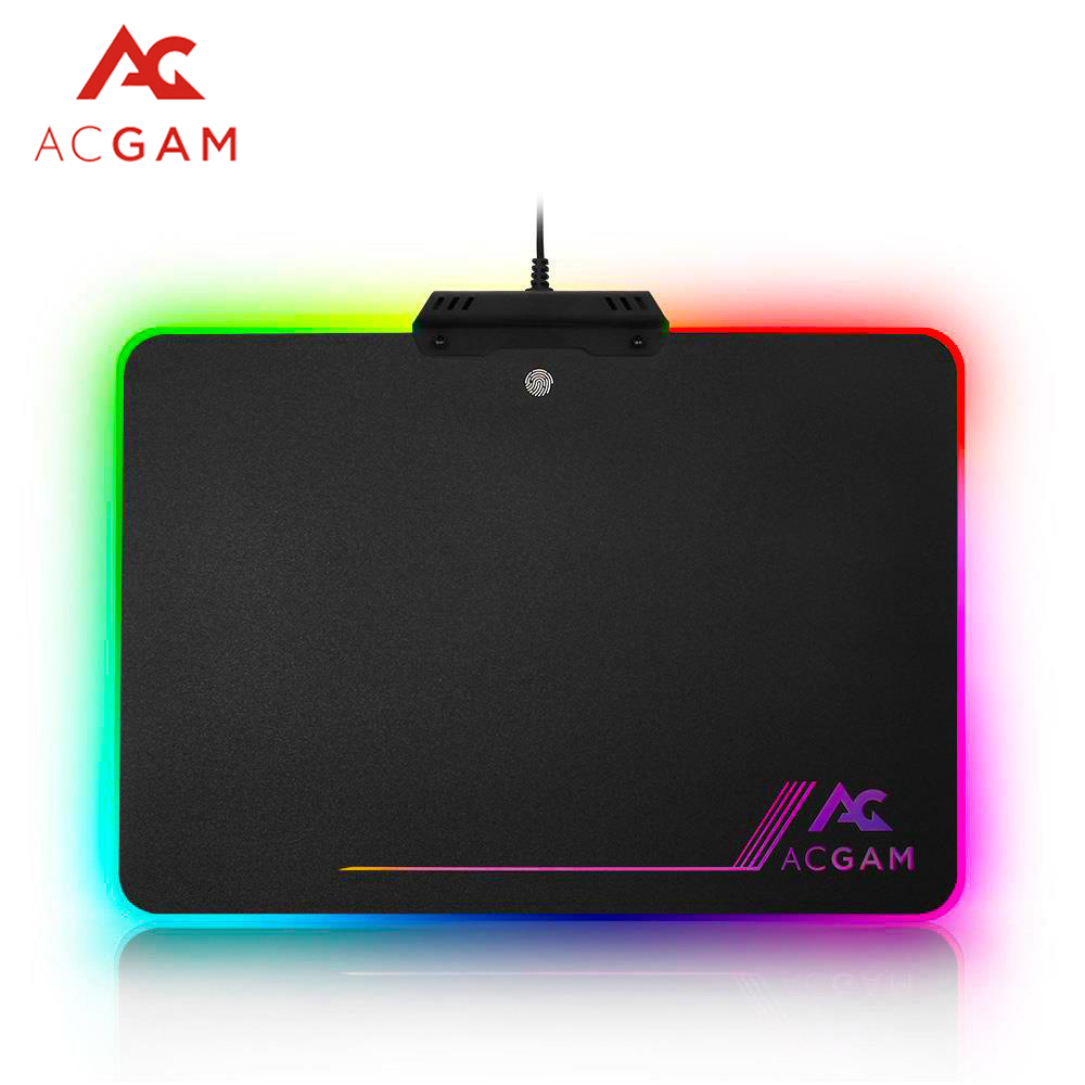 ACGAM RGB Lighting USB 2.0 Hard Non-slip Rubber Base LED Glowing Hard Computer Gaming Mouse Pad Color Lighting Mat Pads