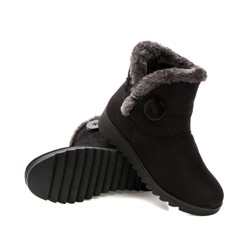 Caliente Slip Nuevo Nieve Tinto Flock Mujer Flats Tobillo Creepers On Botón Negro vino marrón Zapatos Invierno Botas Madre Plataforma H88 r4vqvwIYxn