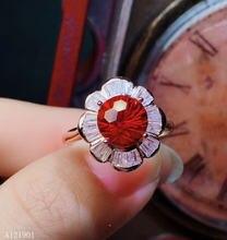 Кольцо с красным топазом из чистого серебра 925 пробы