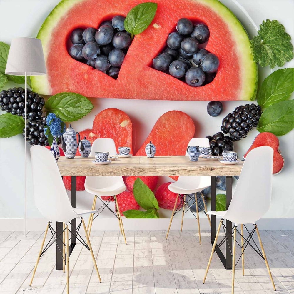 Else Red Watermelon Black Berry Navy Blue Plum 3d Print Photo Cleanable Fabric Mural Home Decor Kitchen Background Wallpaper