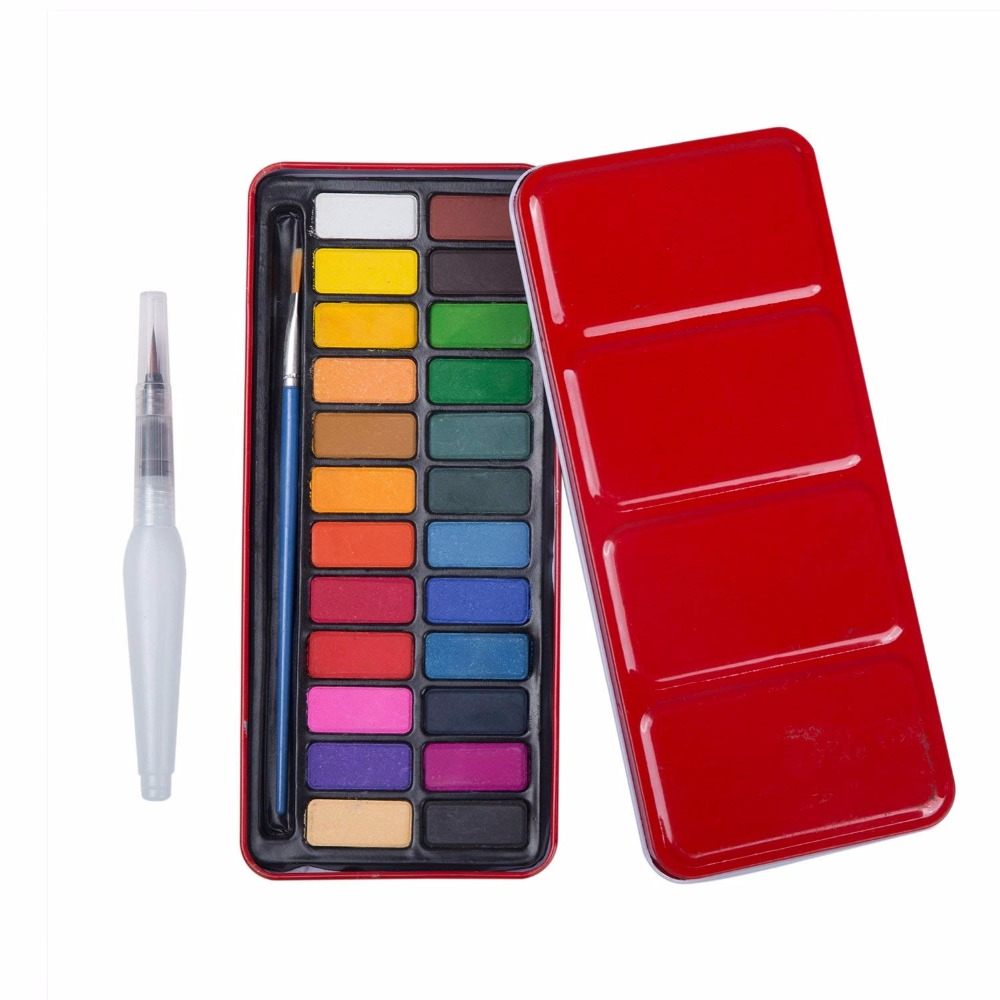 MEEDEN 24 Color Portable Watercolor Paint Set with Brush Pen & Water Brush Pen, Great for Kids Beginners Or Professional ArtistsMEEDEN 24 Color Portable Watercolor Paint Set with Brush Pen & Water Brush Pen, Great for Kids Beginners Or Professional Artists