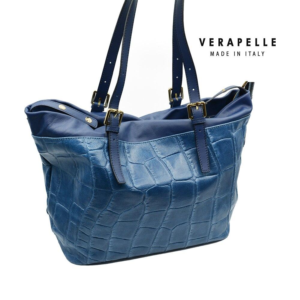 Handbag For Woman Blue Fashion Genuine Leather Shopping Bag