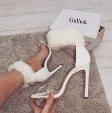 купить Hot Selling White Fur Women Sandals Cut-out Fur Ankle Wrap PVC Transparente Strap High Heel Dress Shoes Ladies Shoes And Heels дешево