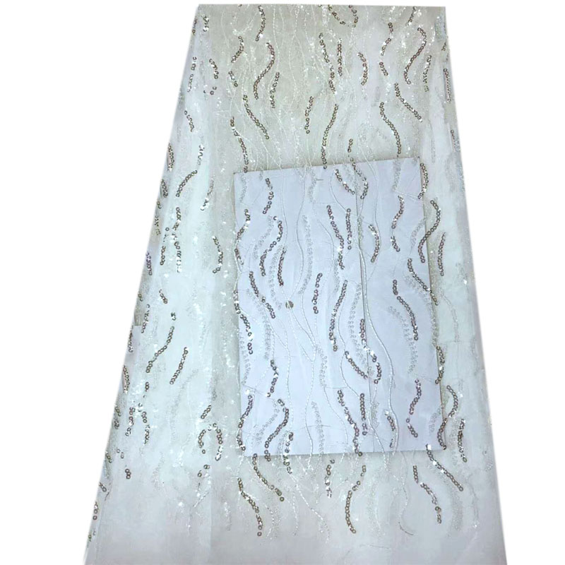 Latest Design Off White Tulle Sequins Lace Fabric For Bridal Evening Show Dresses Sewing Craft New Fashion HJ900-1  Latest Design Off White Tulle Sequins Lace Fabric For Bridal Evening Show Dresses Sewing Craft New Fashion HJ900-1