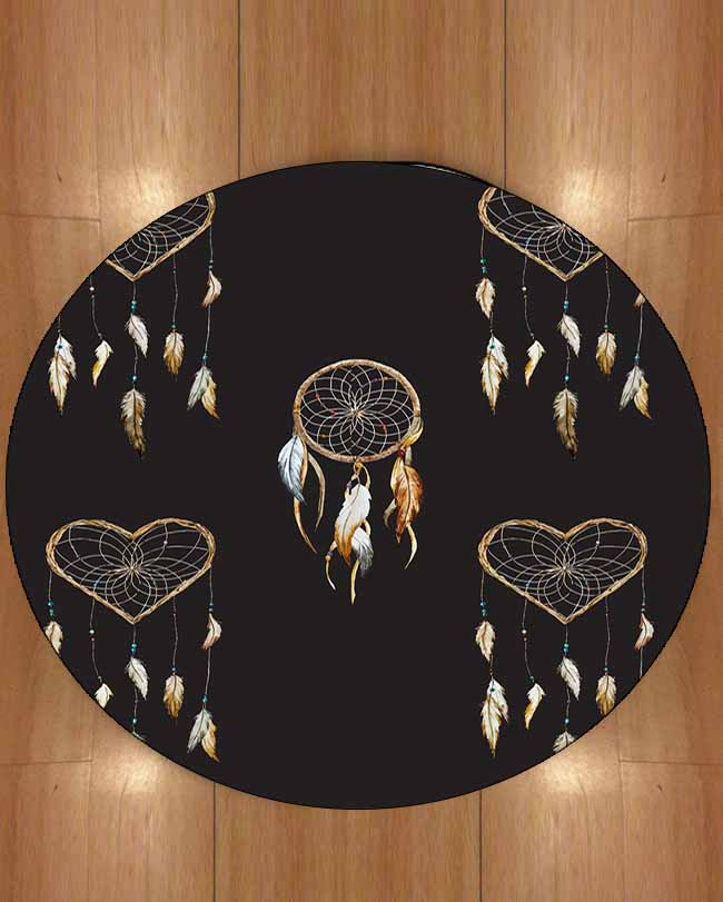 Else Black Wooden Hearts Hanging Bird Feathers Bohemian 3d Print Anti Slip Back Round Carpets Area Rug For Living Rooms Bathroom