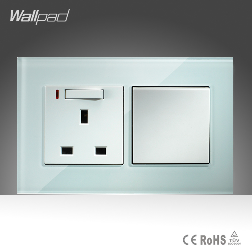 13A UK Switched LED Socket and 1 Gang 1 Way Wallpad 146*86mm White Crystal Glass Push Button Switch and Socket Free Shipping