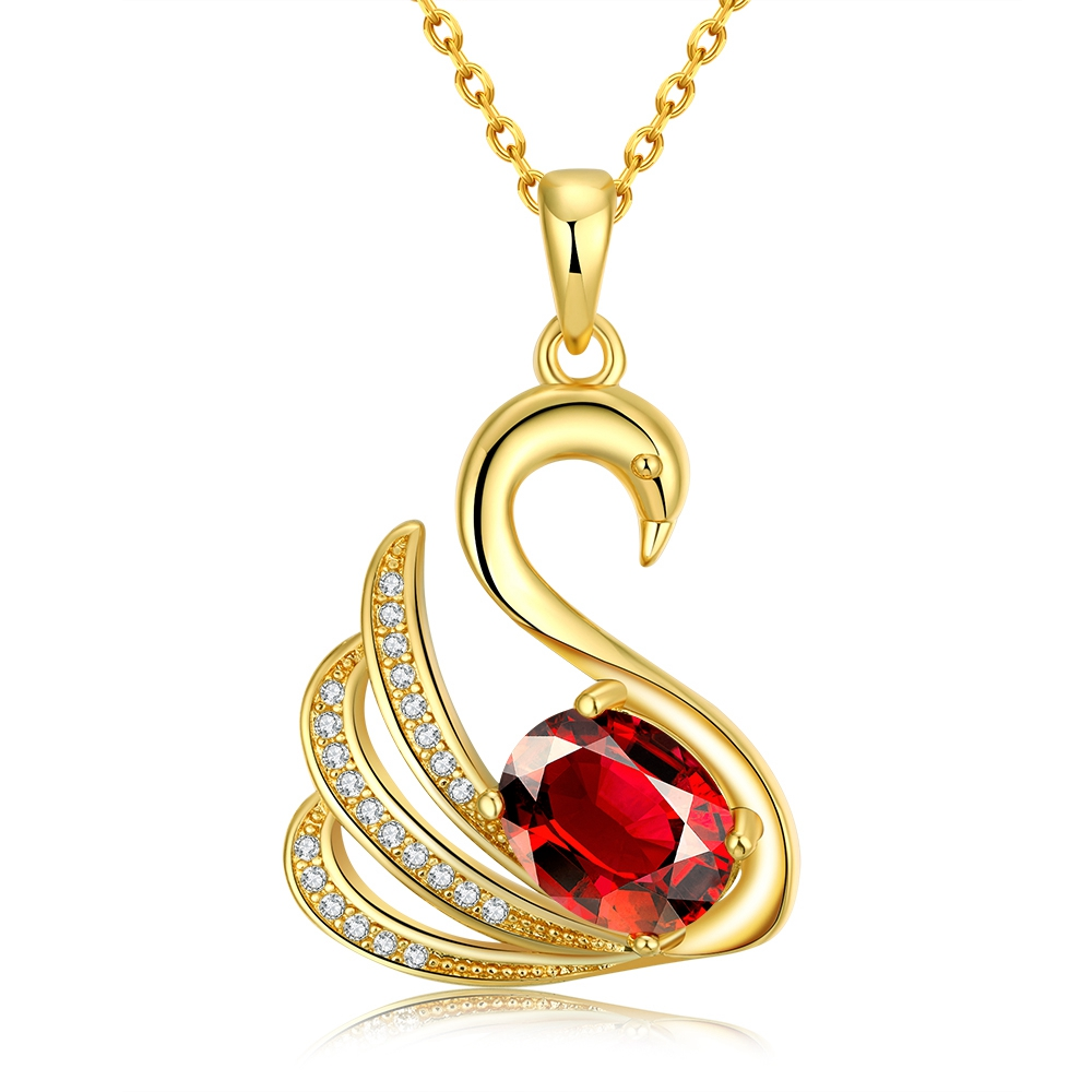 Noble Animal Goose Design Plating Gold Pave Red Zircon Fashion Classical Plating Gold Pendant Necklace