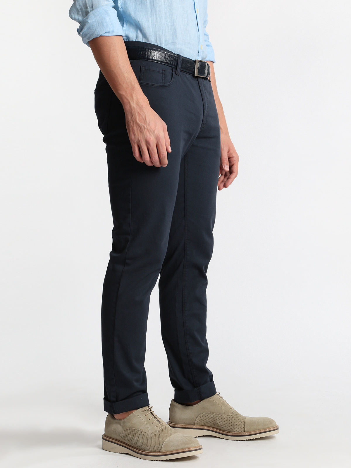 Dark Blue Trousers Cotton-regular Fit
