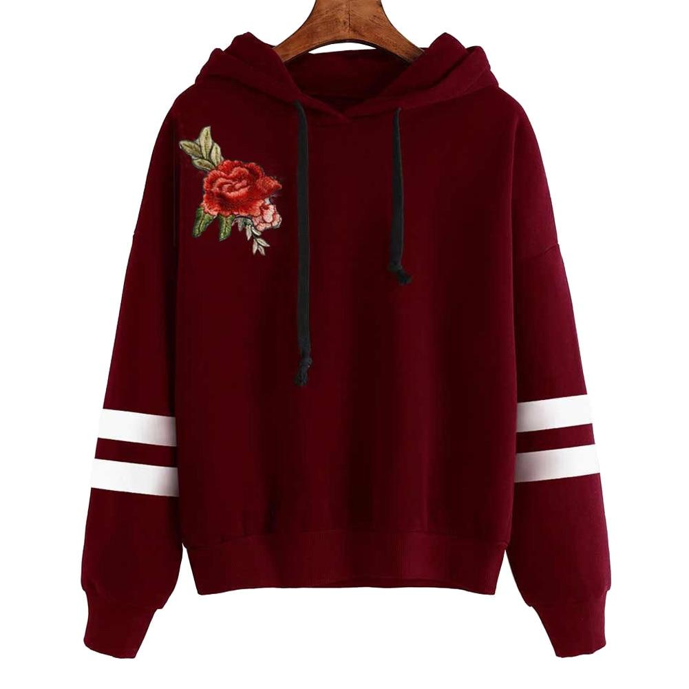Giraffita Hoodies Rose Embroidery Autumn Winter Women Fashion Pullover Tracksuits Sweatshirt Long Sleeve Striped Hooded Tops