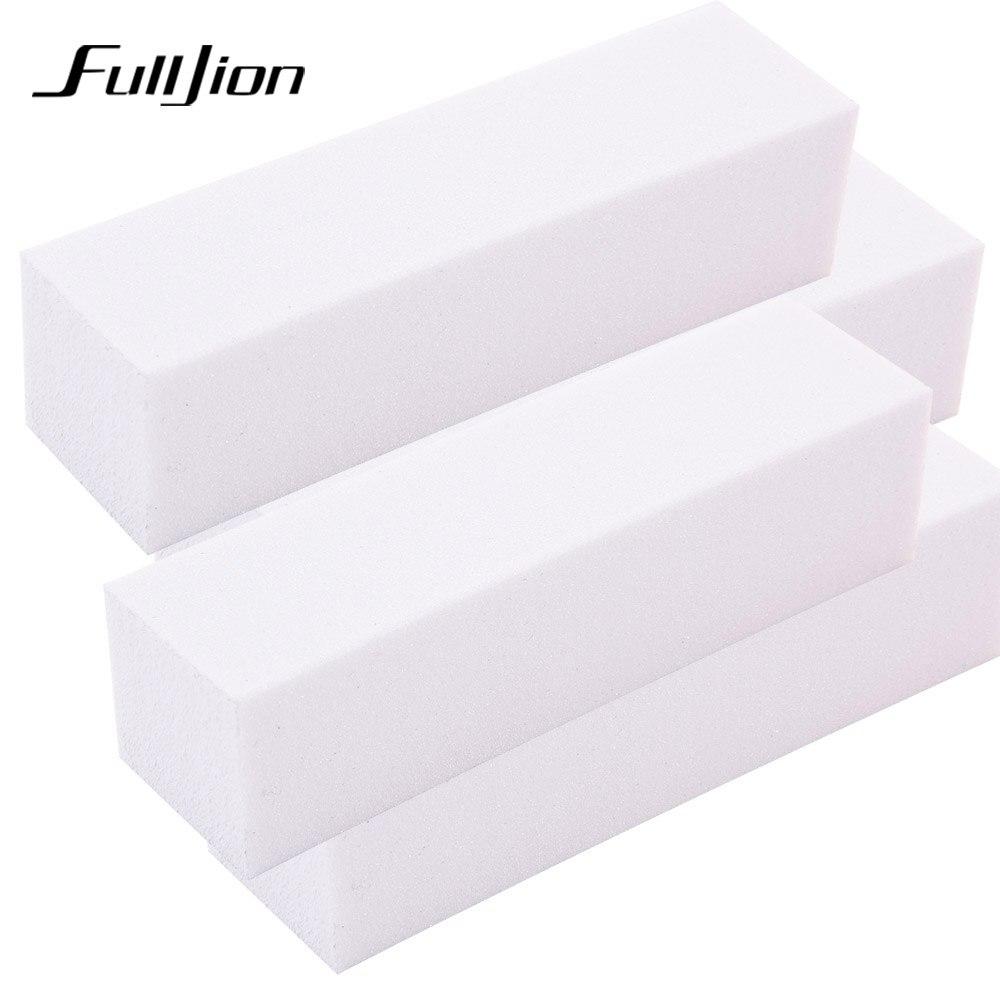 Fulljion 4pcs White Form Nail Buffers File for UV Gel Nail Polish Nail Art Tool Manicure Pedicure Sanding Nail File Buffer Block