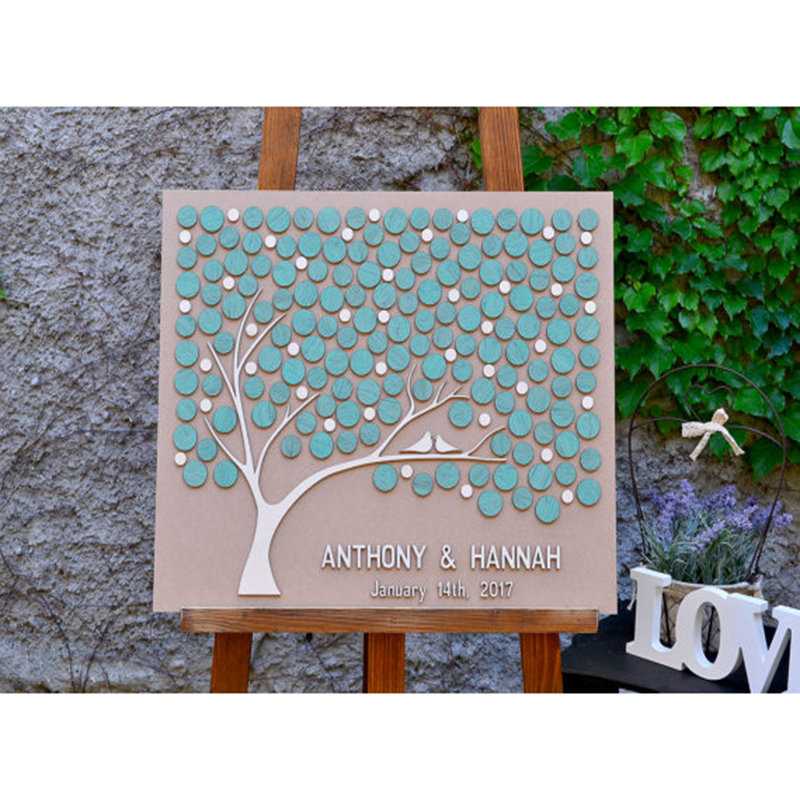 Unusual Wedding Guest Book Ideas: Personalized Wedding Guest Book Alternative Wood, 3D