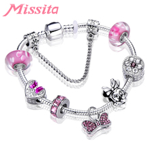 MISSITA Fashion Jewelry Silver Plated Charm Bracelet with Mickey Minnie Beads Brand for Women Anniversary Gift