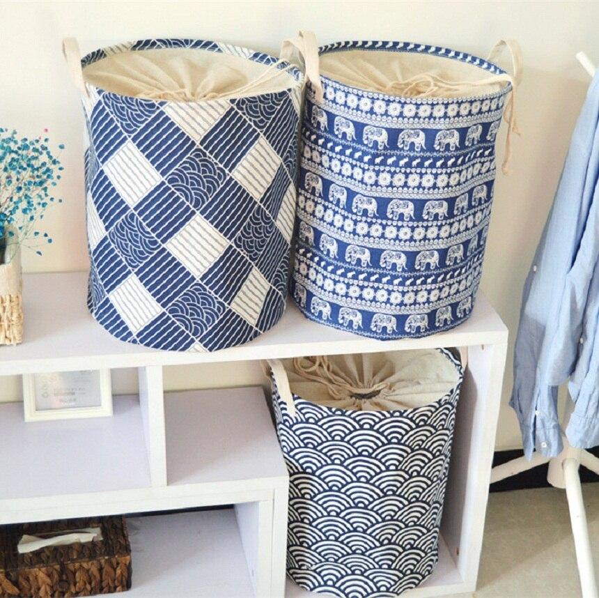 Organizer-Tool Storage-Box Clothing Laundry-Basket Foldable Cotton-Linen Kids Waterproof