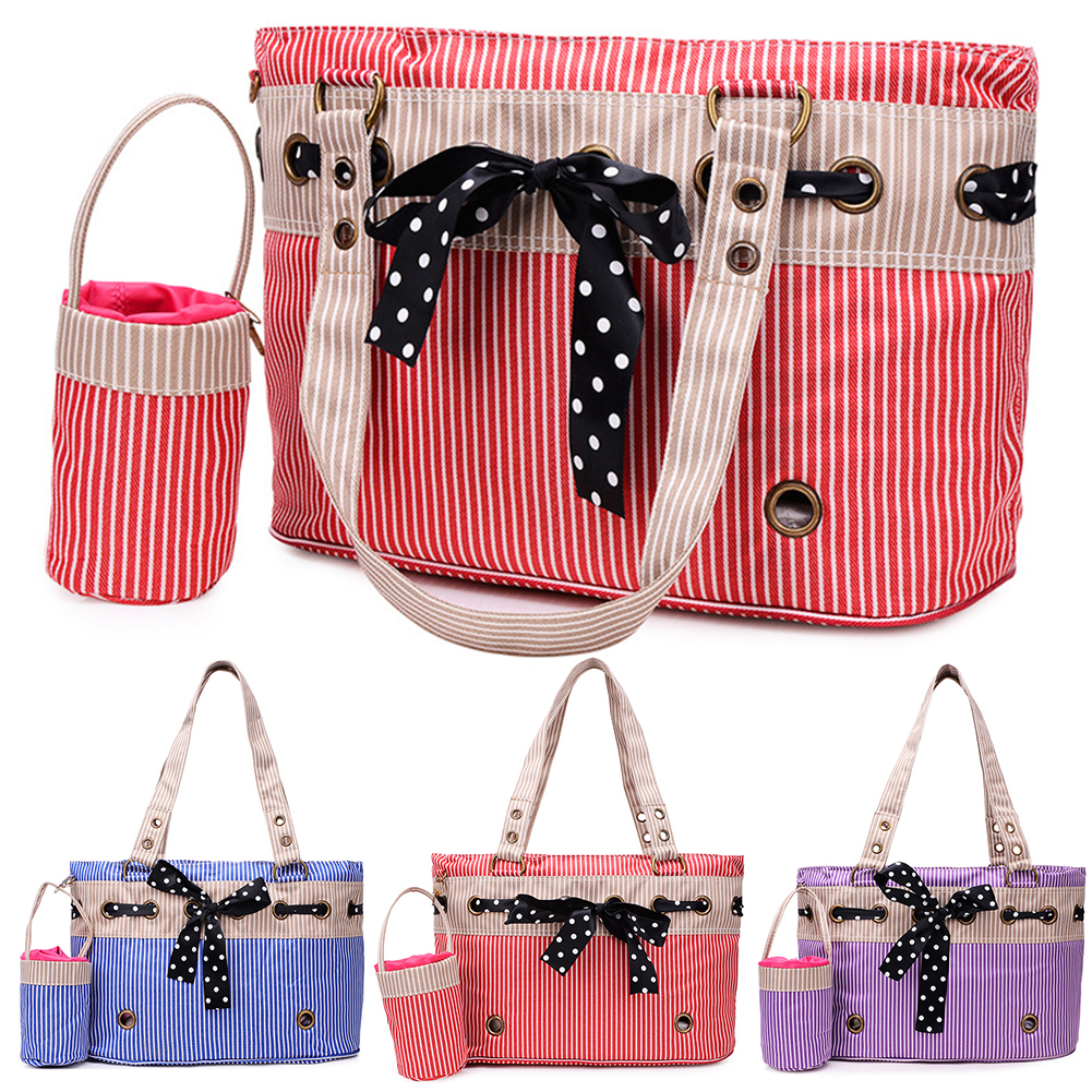 TINGHAO Soft Pet Dog Puppy Cat Car Seat Booster Carrier Stripe Bowknot Bag Portable