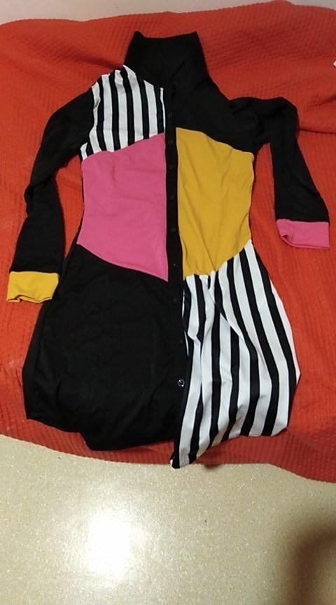 Women Summer Long Sleeve Shirt Dress Streetwear Office Stripe Knee Length Casual Dress Black Button Loose Midi Party Dress photo review