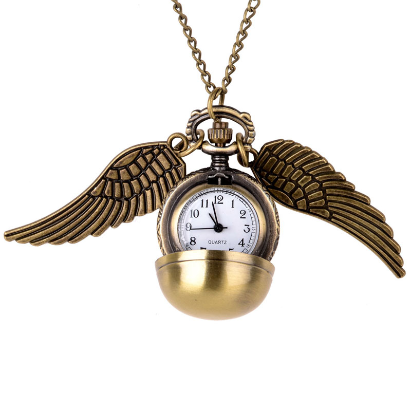 Harri Potter Watch Necklace Golden Snitch Pendant Balls Pocket  Wings Chain Gift Cosplay accessories Toy Gifts