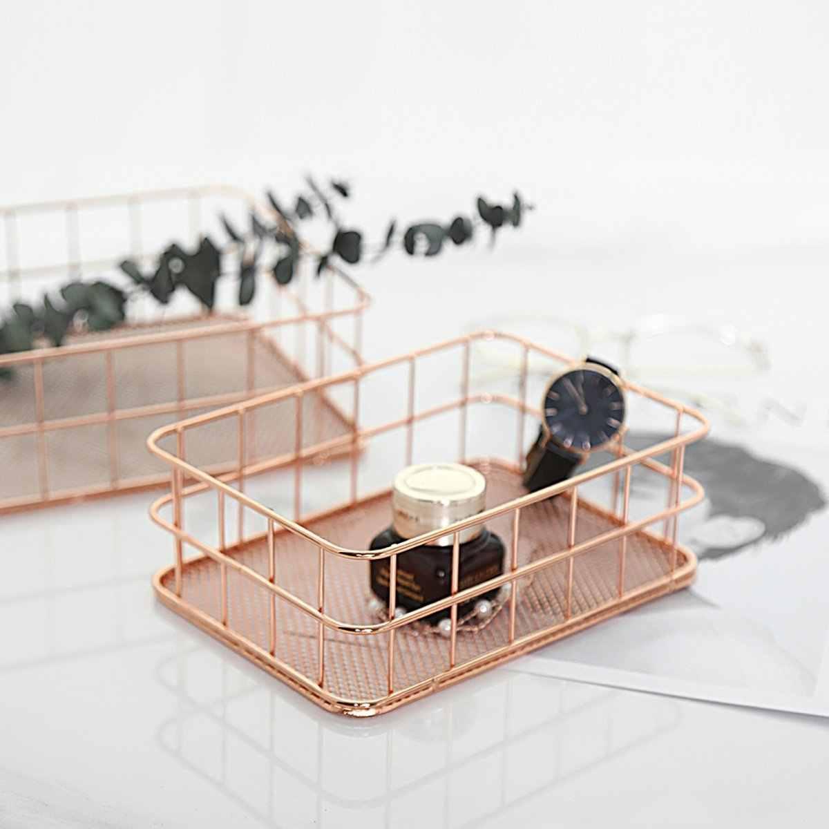 De Metal De luxo Malha Cestos de Armazenamento De Artigos Diversos Cosméticos Titular Banheiro Quarto Organizador Mesa de Escritório Em Casa Decoração em Ouro Rosa