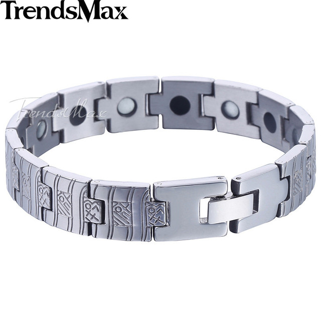 0db59b49b32b7 US $10.45 |Trendsmax Watch Band Bracelet Mens Womens Stainless Steel  Wristband Bangle Link Chain Silver Gold Tone 12mm KKBM145-in Chain & Link  ...