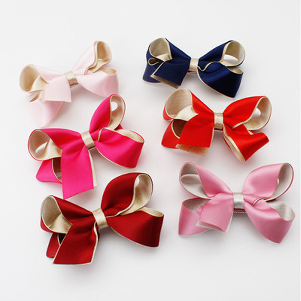 1pcs Cute 3D Contrast Color Bowknot Hair Clips Fabric Headwear Children Girls Hairpins Hair Accessories Headress
