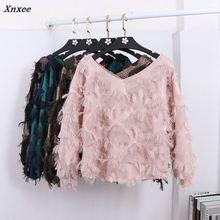 Xnxee 2018 Autumn New Korean Temperament Feather Tassel Long Sleeves Shirt Women V-neck Loose Blouse 66059