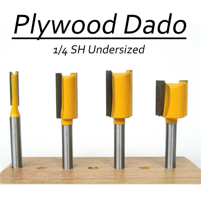 4Pcs 1/4'' Handle Wooden Milling Cutter Router Bit Door Plywood 1/4 1/2 5/8 3/4 Shank Router Bit Set Undersized Dado Router high grade carbide alloy 1 2 shank 2 1 4 dia bottom cleaning router bit woodworking milling cutter for mdf wood 55mm mayitr